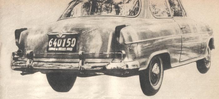 Cola del Borgward Isabella de 1960. Foto de la revista Parabrisas de febrero de 1961.