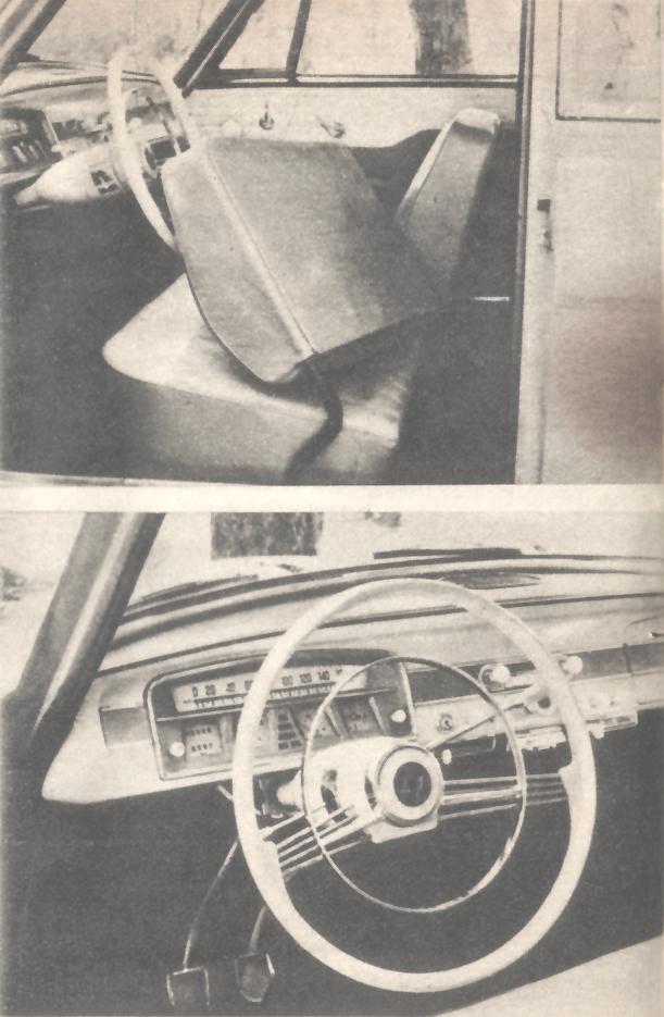 Interior y tablero del Borgward Isabella de 1960. Foto de la revista Parabrisas de febrero de 1961.