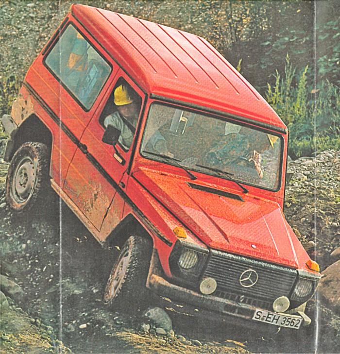Mercedes-Benz G en un descenso complicado en la versión cerrada corta. Foto de un folleto de Daimler-Benz AG de septiembre de 1982.