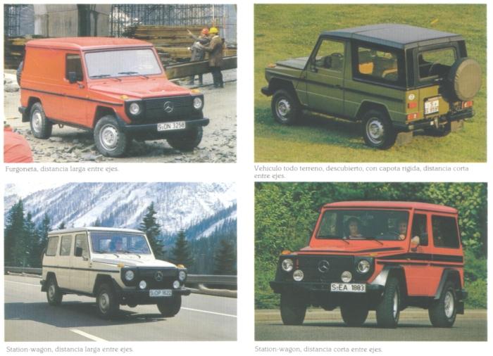 Cuatro versiones del Mercedes-Benz G de 1982. Foto de un folleto de Daimler-Benz AG de septiembre de 1982.