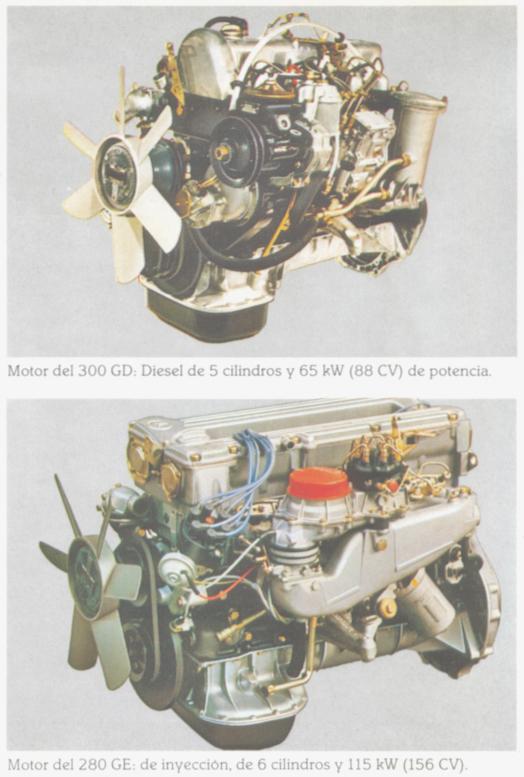Los motores que equipaban al modelo 280 GE y 300 GD. Foto de un folleto de Daimler-Benz AG de septiembre de 1982.