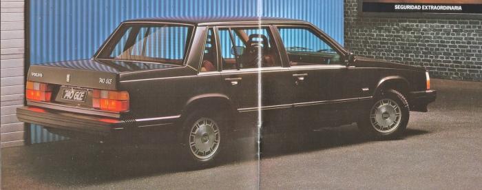 Los ¾ traseros del Volvo 740 GLE de 1985. La imagen corresponde a un folleto de la empresa AB Volvo de 1985.
