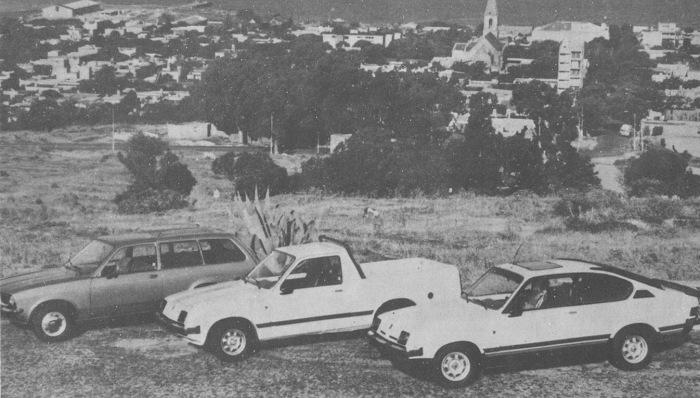 De izquierda a derecha: Grumett 250 M, Grumett Pick-Up SL y Grumett Sport. La foto fue publicada en la revista Su Auto, número 14 del mes de enero de 1981.