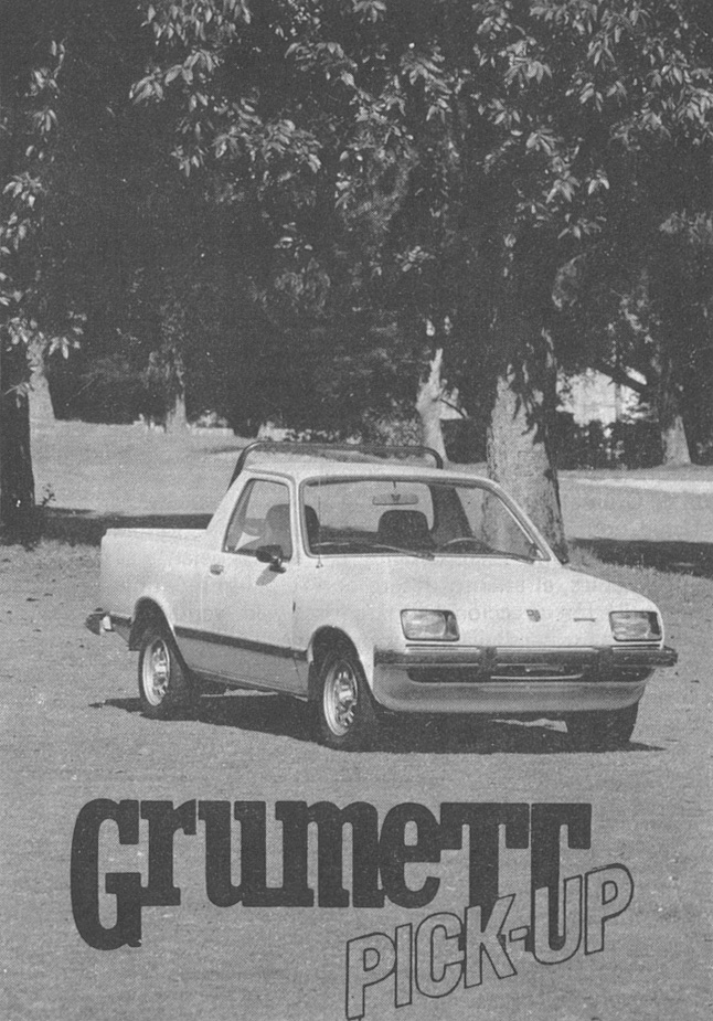 Grumett Pick-Up SL modelo 1981. La foto fue publicada en la revista Su Auto, número 14 del mes de enero de 1981.