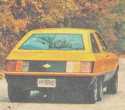 La cola del Hybrid de 1980 fabricado por Briggs & Stratton. La fotografía pertenece a la revista Parabrisas Corsa del 27 de febrero de 1980.