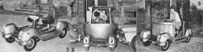 Urbanina de Italia. 1: El chasis con la plataforma superior giratoria. 2: La carrocería circular puede girar para poder descender del auto. 3: Una carrocería de mimbre se podía usar en el verano. Las fotos salieron publicadas en la revista Automundo número 44 del 8 de marzo de 1966.