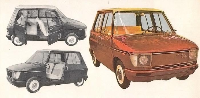 Daf-City de 1967 que presentaba puertas de aperturas diferenciadas. La fotografía está tomada de la Enciclopedia Salvat del Automóvil, Volumen 2, 1974.