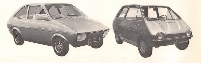 Prototipos de De Tomaso bautizados City Car sin definir su propulsión mecánica. La fotografía está tomada de la Enciclopedia Salvat del Automóvil, Volumen 2, 1974.