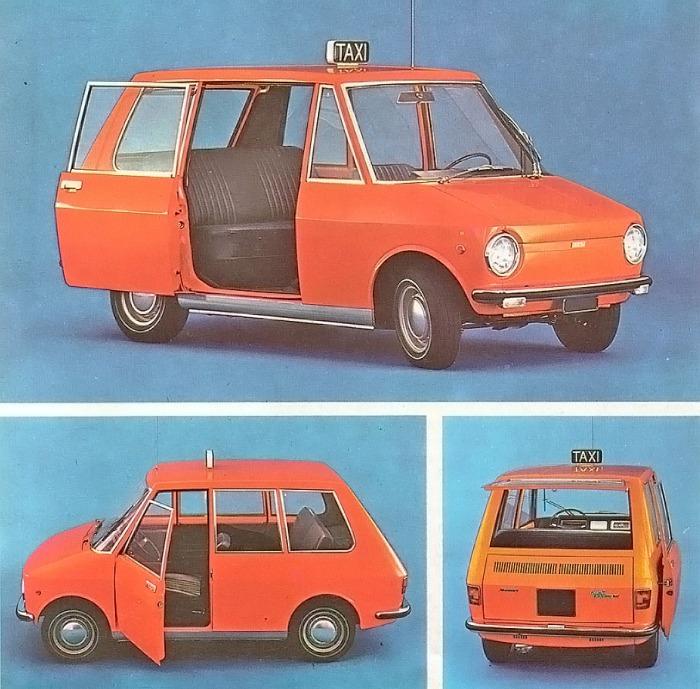 City-Taxi de Fiat de 1968 un prototipo de taxi con tres plazas, ampliables a una cuarta. La fotografía está tomada de la Enciclopedia Salvat del Automóvil, Volumen 2, 1974.