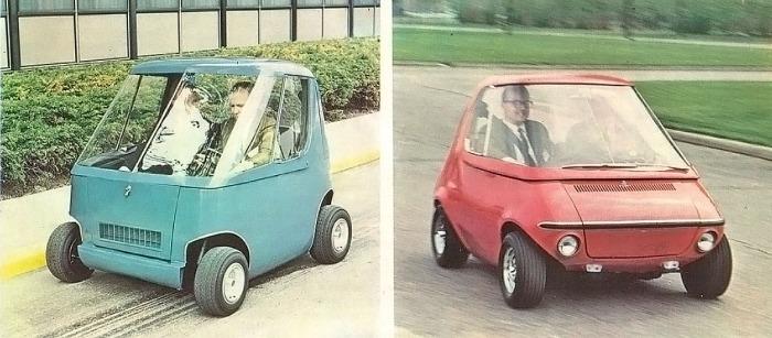 Dos prototipos de la serie 512 de la empresa General Motors. El de la izquierda con motor hibrido de nafta y eléctrico. El de la derecha con motor eléctrico. Ambos modelos era del año 1969. La fotografía está tomada de la Enciclopedia Salvat del Automóvil, Volumen 2, 1974.