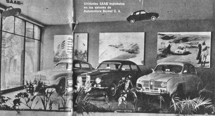 La concesionaria SAAB de Automotores Boreal SA. La fotografía es de la revista Parabrisas 74 de febrero de 1967.