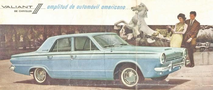 Valiant III modelo 1964 en uno de tonos de azul de la nueva gama de colores. La foto es de un folleto de Fevre y Basset Ltda. SA, Chrysler Argentina SA del 20 de febrero de 1964.