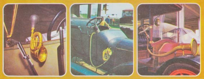 Viejas bocinas de pera de goma y bronce. Fotos de la Enciclopedia Salvat del Automóvil de 1974.