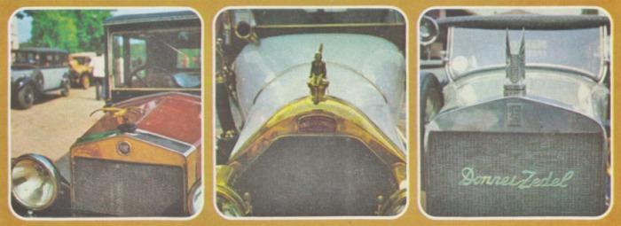 Tapas de radiador con emblemas de las marcas de automóviles. Fotos de la Enciclopedia Salvat del Automóvil de 1974.