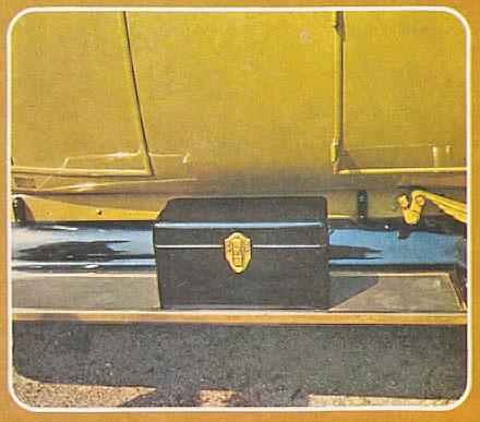 Caja de herramientas que iba sobre el estribo del automóvil. Fotos de la Enciclopedia Salvat del Automóvil de 1974.