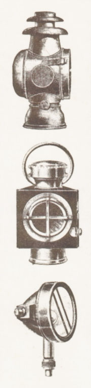 Dos faros de petróleo o fanales y un faro eléctrico, inferior. Fotos de la Enciclopedia Salvat del Automóvil de 1974.
