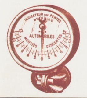 Medidor de pendientes para subidas y bajadas. Fotos de la Enciclopedia Salvat del Automóvil de 1974.
