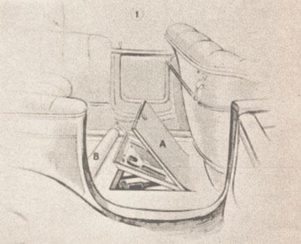 Compartimiento para guardar herramientas debajo del piso de un Chrvrolet de 1913. Fotos de la Enciclopedia Autorama de 1968.