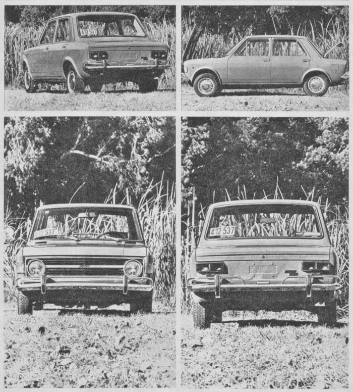 Cuatro vistas del Fiat 128 argentino de 1971. Las fotografías son de la revista Parabrisas Corsa número 267 del 1 de junio de 1971.