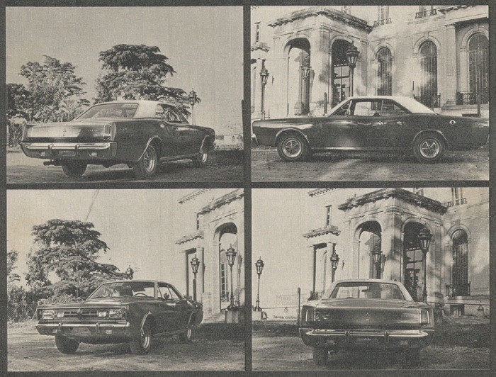 Cuatro vistas de la Dodge GTX modelo 1970 con motor V8. Las fotografías son de la revista Parabrisas Corsa número 240 del 24 de noviembre de 1970.