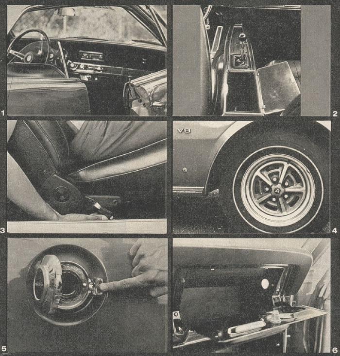 Fotos de la GTX 1970: 1 Vista de la carrocería sin parantes. 2 Consola con gaveta entre los asientos delanteros. 3 Palanca de la posición de los asientos delanteros con memoria. 4 Llantas deportivas. 5 Tapa del tanque con cierre rápido. 6 Guantera con luz interior y espacio reducido. Las fotografías son de la revista Parabrisas Corsa número 240 del 24 de noviembre de 1970.