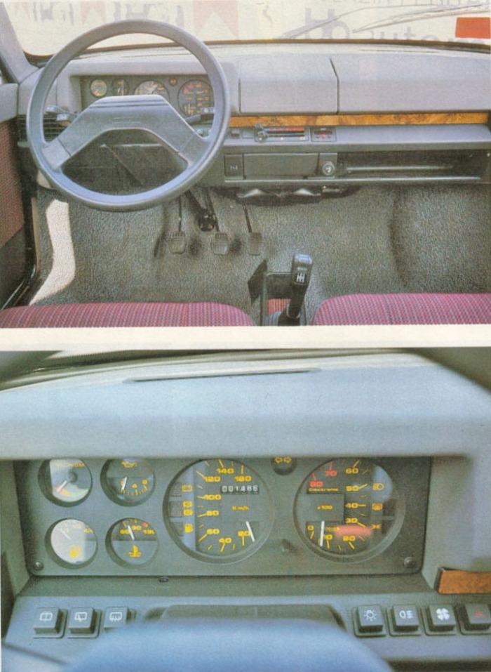 Tablero del Innocenti 990 SE modelo 1986. La foto pertenece a la revista Automobilismo número 13 de diciembre de 1986.
