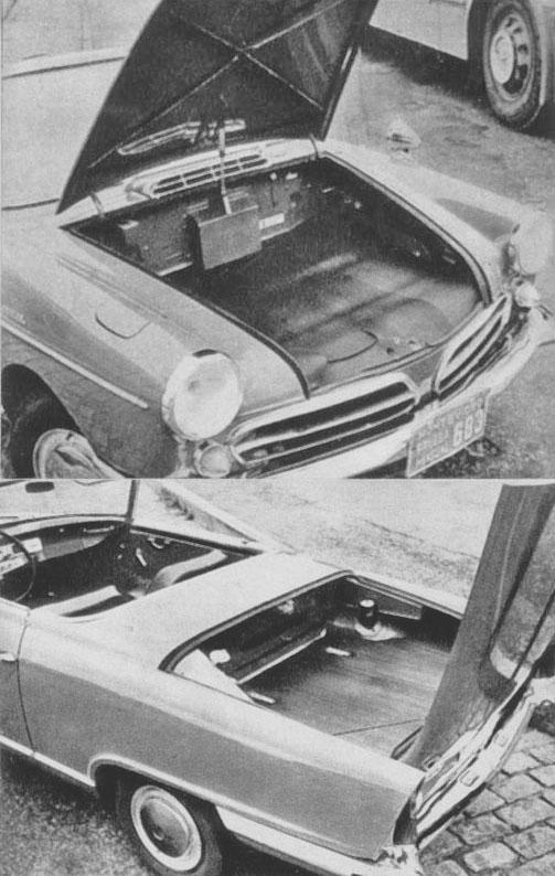 Los dos baúles del NSU Spider Wankel. Debajo del baúl trasero estaba el motor rotativo. Las fotografías son de la revista Cuatrorutas número 3 de julio-agosto de 1966.