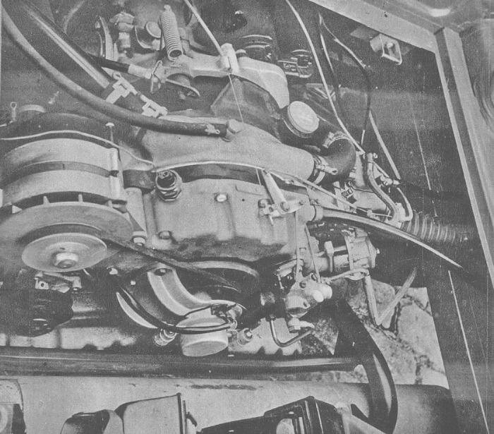 El motor rotativo del NSU Spider Wankel. La fotografía es de la revista Cuatrorutas número 3 de julio-agosto de 1966.