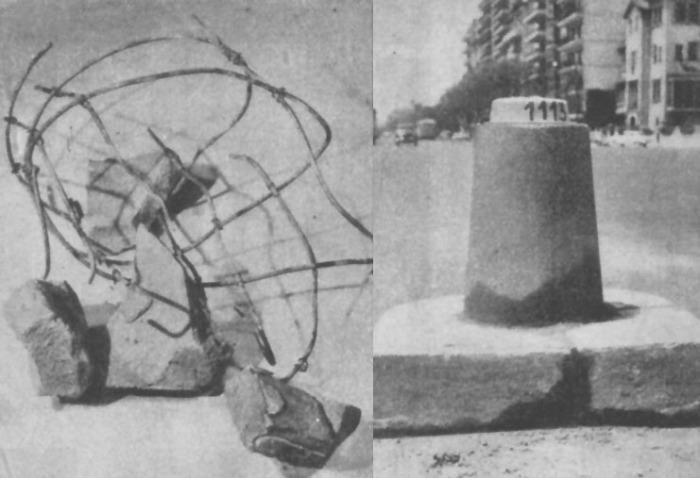 A la derecha pilote destruido con el que chocó Julio Sosa. A la izquierda el pilote repuesto al otro día del accidente. Fotografía de la revista Parabrisas número 51 de febrero de 1965.