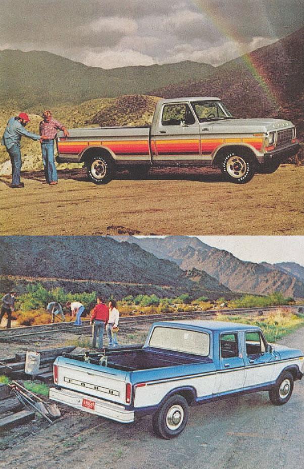 Arriba: camioneta Ford de 1979 con la opción de calcomanías para decorar la carrocería. Abajo: la versión Crew Cab o doble cabina de la camioneta Ford de 1979. Fotografía de un folleto de la empresa Ford Motor Company de julio de 1978.