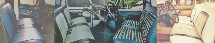 Los asientos de las camionetas Ford de 1979. Desde la izquierda hacia la derecha: Ford Custom, Ford Free Wheeling, Ford Ranger, Ford Ranger Lariat. Las fotografías fueron tomadas de un folleto de la empresa Ford Motor Company de julio de 1978.
