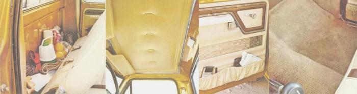 Cuatro vistas del interior de la cabina de una camioneta Ford Ranger Lariat. Las fotografías fueron tomadas de un folleto de la empresa Ford Motor Company de julio de 1978.