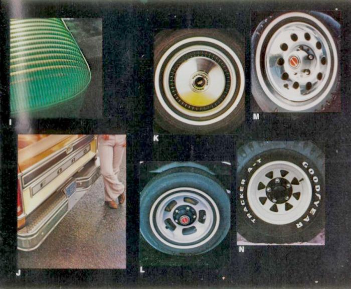 I: tapizados opcionales. J: paragolpes trasero con estribo. K: llanta con taza cromada. L: llanta deportiva de 5 rayos. M: llanta deportiva de 10 agujeros. N: llanta deportiva pintada de 8 rayos. Las fotografías fueron tomadas de un folleto de la empresa Ford Motor Company de julio de 1978.