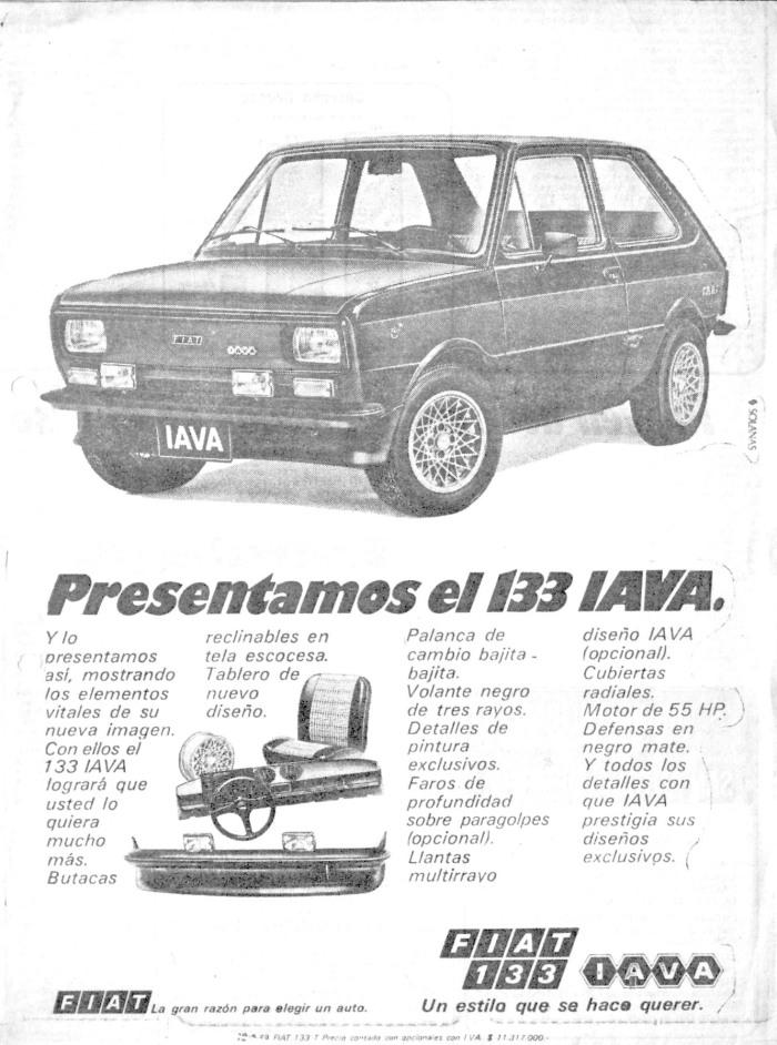 Publicidad Fiat 133 IAVA