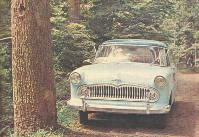 Simca Ariane de 1965 en un viaje a Bariloche de la revista Parabrisas. La fotografía está tomada del Suplemento Turismo Parabrisas número 14 de junio de 1965, que correspondía a la revista Parabrisas número 55.