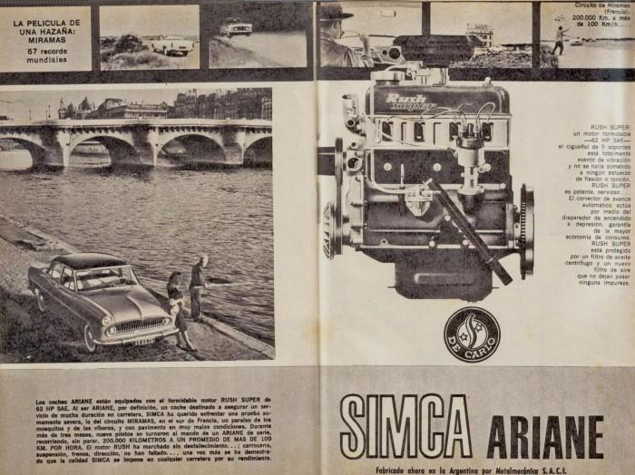 Publicidad del Simca Ariane de 1965 publicada en el Suplemento Turismo Parabrisas número 14 de junio de 1965, que correspondía a la revista Parabrisas número 55.