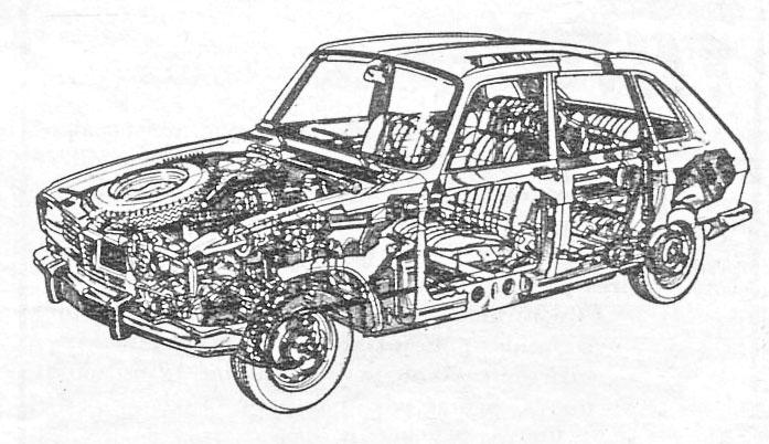 Transparencia del Renault 16 de 1965 presentado en junio de ese año por la empresa Régie Nationale des Usines Renault. El dibujo es de la revista Automundo número 43 del 2 de marzo de 1966.