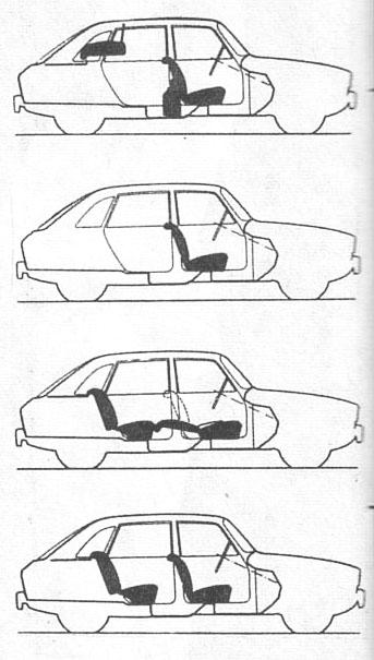 La combinación de los asientos del Renault 16 de 1965 presentado en junio de ese año por la empresa Régie Nationale des Usines Renault. El dibujo es de la revista Parabrisas número 54 de mayo de 1965.