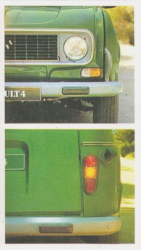 Fotos de la trompa y la cola del Renault 4 S modelo 1981. Fotografía de un folleto de la empresa Renault Argentina.