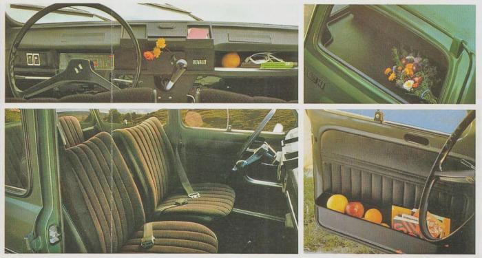De izquierda a derecha y de arriba abajo: tablero, luneta trasera, interior y gavetas porta objetos de las puertas delanteras del Renault 4 S de 1981. Fotografía de un folleto de la empresa Renault Argentina.