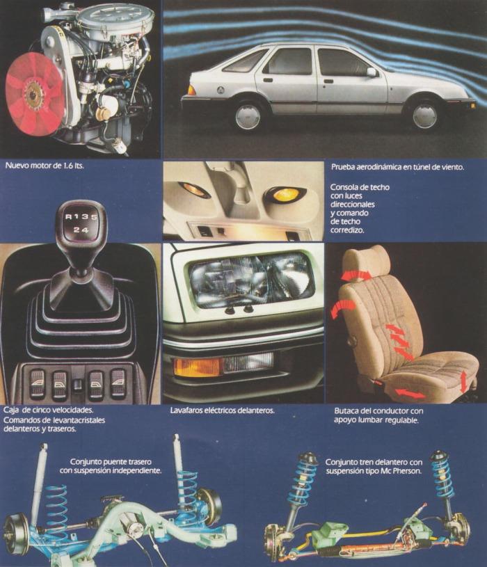 Diferentes componentes de la línea Ford Sierra de 1984 de perfil. Foto de un folleto de Ford Motor Argentina.