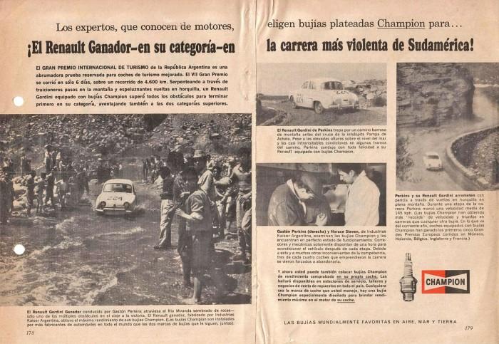Publicidad bujías Champion-Gordini 1964