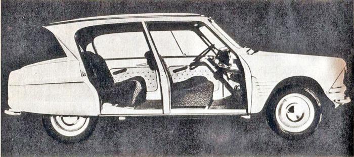 El Citroën Ami 6 del año 1961 sin las puertas. La fotografía es de la revista Parabrisas número 9 del mes de julio de 1961.