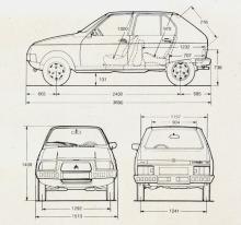 Dibujos con las medidas del Citroën Visa Club el modelo probablemente sea 1979 o 1980, no consta el dato en el folleto. La fotografía es de un folleto de la empresa Citroën Argentina, importadora de la marca en Argentina a partir del año 1979.