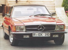 El Mercedes-Benz SL del año 1983. Tanto las versiones 280 SL, 380 SL y 500 SL era similares en su carrocería. Salvo un pequeño alerón en la tapa del baúl en el 500 SL. La fotografía está tomada de un folleto de la empresa alemana Daimler-Benz AG.