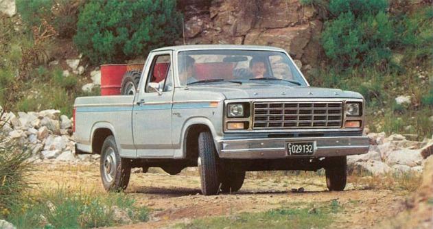 Camioneta Ford F-100 del año 1981 de lujo y pintada con dos tonos de pintura. Este modelo estaba equipado con el motor V8. Fotografía de un folleto de Ford Motor Argentina de junio de 1981.