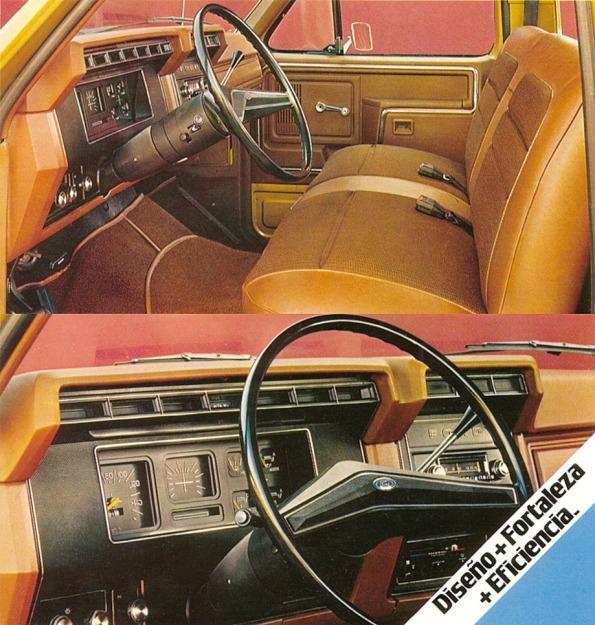 Dos vistas de la cabina de las camionetas Ford del año 1981. En la de abajo vemos el tablero que era muy parecido a los modelos 1980 de Estados Unidos, salvo por no presentar las tomas del aire acondicionado. Fotografías de un folleto de Ford Motor Argentina de junio de 1981.