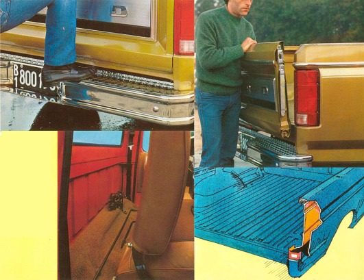 Distintas vistas del estribo del paragolpes trasero, la facilidad de remover la puerta trasera, el espacio de carga detrás del respaldo del asiento y el dibujo de las dos capas de la caja de carga. Fotografías de un folleto de Ford Motor Argentina de junio de 1981.