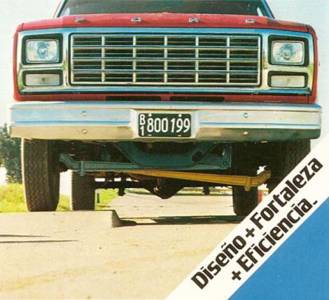 El famoso eje delantero Twin-I-Beam en la camioneta Ford del año 1981. Fotografía de un folleto de Ford Motor Argentina de junio de 1981.