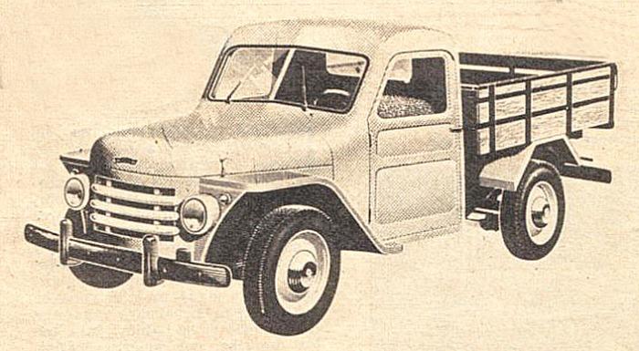 Rastrojero Diésel del año 1963 fabricado por DINFIA. Dibujo tomado de una publicidad de la revista Autoclub de agosto de 1963.